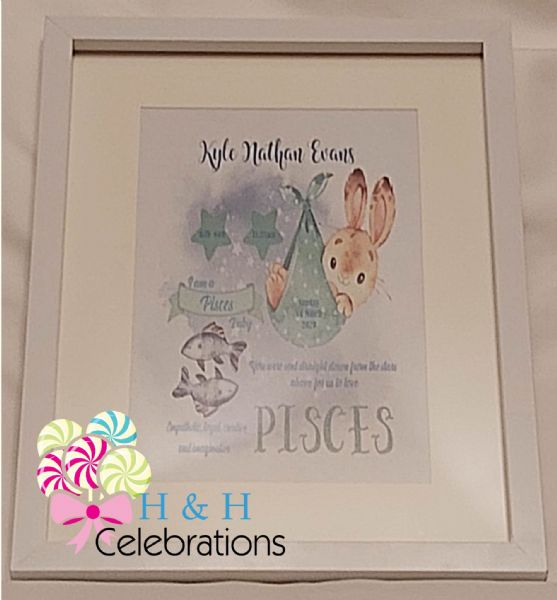 Pisces New Baby Star Sign Print